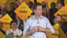 Leader Nick Clegg  addresses a Lib Dem rally.