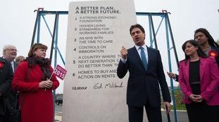 Ed Miliband unveils a giant stone chiselled with Labour's key manifesto pledges.
