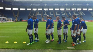 Leicester City players at the open training session at the King Power Stadium