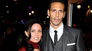 Rio Ferdinand pictured with wife Rebecca Ellison in February this year.