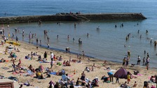 A crowded beach at Cullercoats, North Tyneside