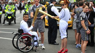 The Olympic flame arrived into the grounds of the Tower of London on Friday.