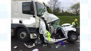 Crash on the A1 near Huntingdon.