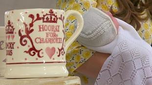 Emma Bridgewater commemorative mug and Nottingham made woollen shawl