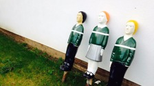 "The three ""Belinda and Billy"" bollards will be installed outside Seathorne Primary School near Skegness later today."
