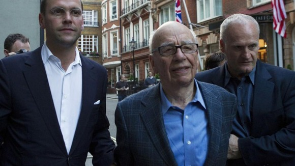 Rupert Murdoch and his son James Murdoch together