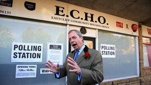 Ukip leader Nigel Farage casts his vote.