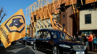 Sir Jack Hayward's funeral cortege making its way past Molineux in February