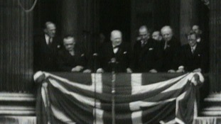 Winston Churchill addresses Whitehall