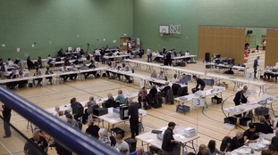 Votes being counted in Grantham