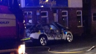 The police car outside Hinckley leisure centre