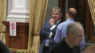 Brandon Lewis shares a joke at today's count.