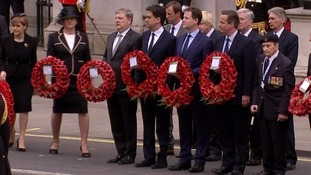 Prime Minister David Cameron stood alongside Ed Miliband and Nick Clegg at the Cenotaph.
