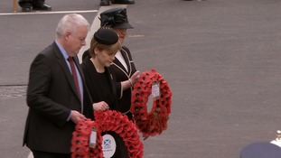 SNP leader Nicola Sturgeon followed Mr Cameron, Mr Miliband and Mr Clegg in laying a wreath at the Cenotaph.