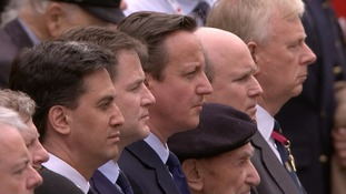 Ed Miliband, Nick Clegg and David Cameron joined Winston Churchill's great-grandson Randolph at the VE Day memorial event in central London.