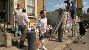 The cast and crew of EastEnders are putting the final touches for tonight's Olympic Torch episode