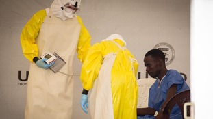 A man is treated in an Ebola clinic