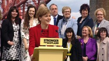 Nicola Sturgeon with newly elected SNP MPs in Edinburgh