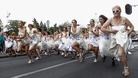 Brides-to-be take part in the annual race in Belgrade.