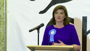 Nicky Morgan giving her speech after winning her constituency