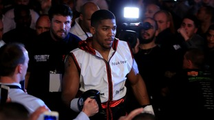 Olympic gold medallist Anthony Joshua at last night's fight in Birmingham