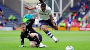 Joe Murphy trips the Preston midfielder