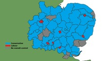 Council control on the 56 district, city and borough councils across the Anglia region.