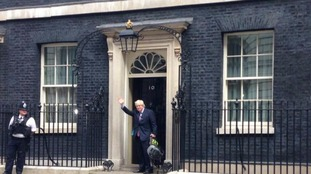 Boris Johnson outside Downing Street this morning