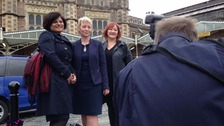 Thangam Debbonaire MP, Karin Smyth MP and Kerry McCarthy MP outside Temple Meads station before heading to London
