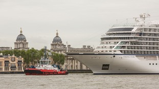 .iking Ocean Cruises of the Viking Star going past the Royal Navy College in Greenwich