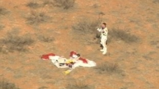 After landing, Baumgartner was met by his retrieval team.