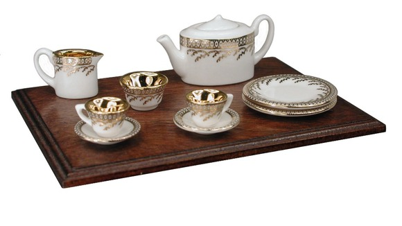 The full miniature tea set on display at the NEC
