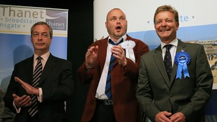 Nigel Farage (left) joins comedian Al Murray in congratulation Conservative winner Craig Mackinlay