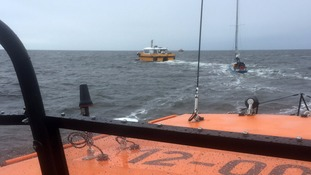 Watch: Helicopter and lifeboats answer Mayday call
