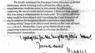 Prince Charles called for regulation of herbal medicine in his 2005 letter.