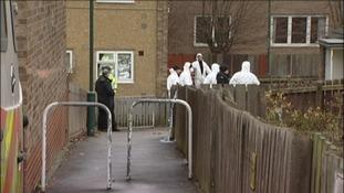 Scene of the shooting on Westfield Gardens in St Ann's in Nottingham