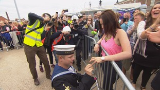 Wedding proposal for sailor as he returns to Portsmouth from Gulf mission