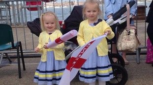 Evie and Lacey fly the flag