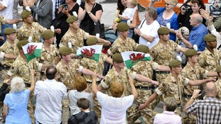 Charlie Company, 2nd Battalion The Royal Welsh, during a homecoming parade following a tour of duty in Afghanistan.