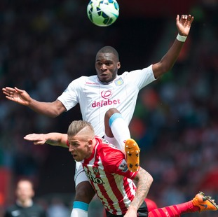 Aston Villa's Christian Benteke (top) in action against Southampton's Toby Alderweireld during the Barclays Premier League match at St Mary's