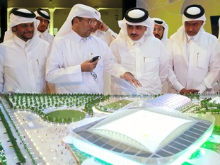 A model of Al Rayyan Stadium, being built for the World Cup