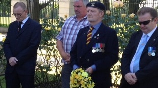 A wreath was laid at the war memorial in Victoria Park in Leicester.