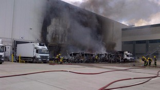 Fire 'seen for miles' tears through warehouse in south London