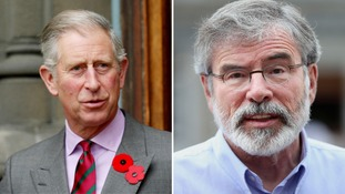 A splitscreen picture of Prince Charles and Gerry Adams