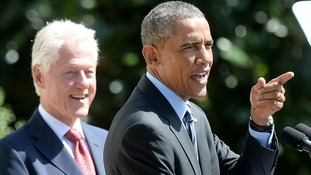 Former US president Bill Clinton with current President Barack Obama indulge in some #presidentialbantz.