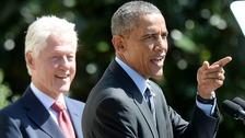 Former US president Bill Clinton with current President Barack Obama indulge in some #presidentialbantz.