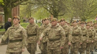 Duke of Lancaster's Regiment marching in Carlisle