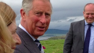 Prince Charles has continued his visit to the North East by touring Holy Island and Lindisfarne Castle.
