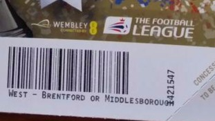 The spelling mistake is at the foot of the ticket