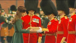 The Duchess of Cambridge meets Officers during her first solo engagement.